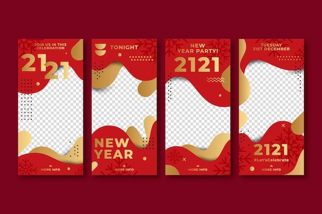 Histórias do instagram vermelho e dourado do ano novo de 2021