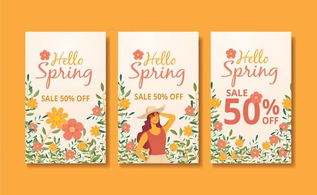 Histórias e feed de primavera banner ilustração