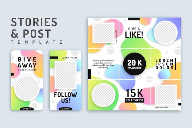 Histórias e postagens no instagram para brindes