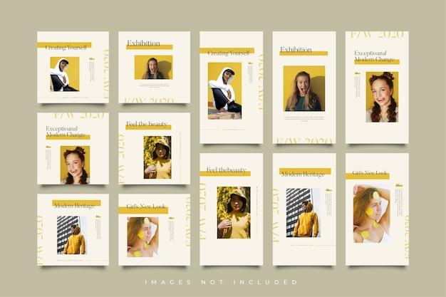 Histórias e postar coleção amarela