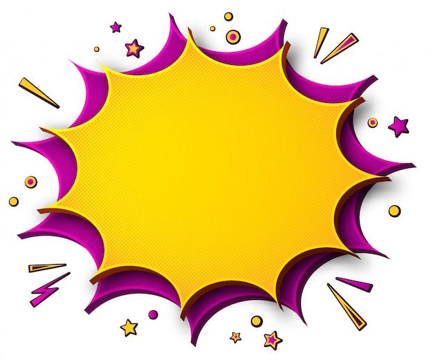 Histórias em quadrinhos. cartaz dos desenhos animados no estilo pop art com bolhas do discurso amarelo - rosa