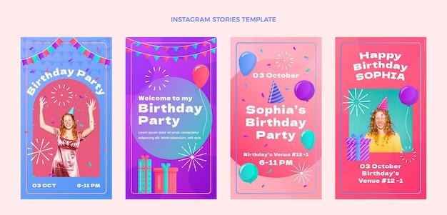 Histórias ig de aniversário com gradiente colorido