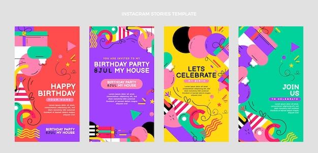 Histórias ig de aniversário em mosaico plano
