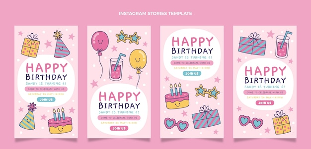 Histórias ig de aniversário infantil desenhadas à mão