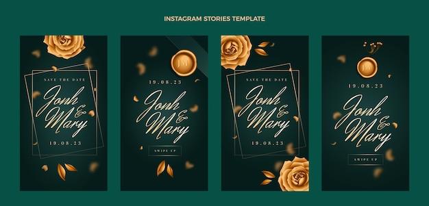 Histórias ig de luxo realistas de casamento dourado