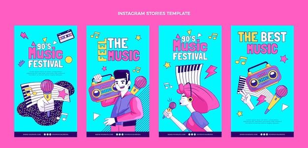 Histórias ig desenhadas à mão em festivais de música nostálgica dos anos 90
