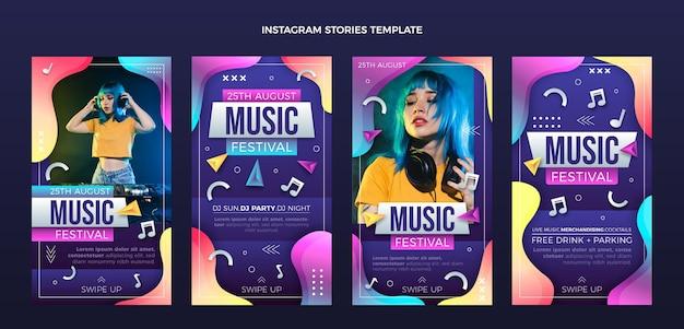 Histórias ig do festival de música colorida gradiente