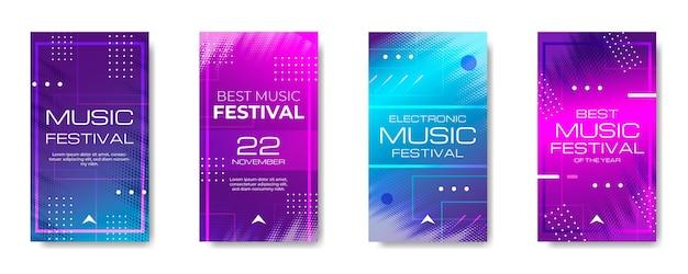 Histórias ig do festival de música de meio-tom gradiente