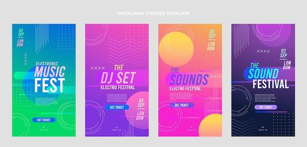 Histórias ig do festival de música de textura gradiente