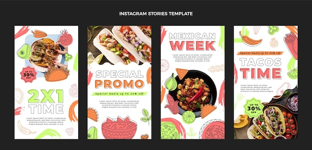 Histórias instagram de comida mexicana de design plano
