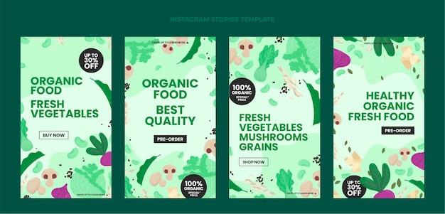 Histórias instagram de comida orgânica de design plano