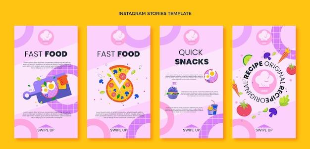 Histórias instagram de fast food de design plano