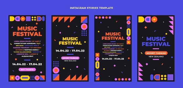 Histórias instagram de festival de música em mosaico design plano