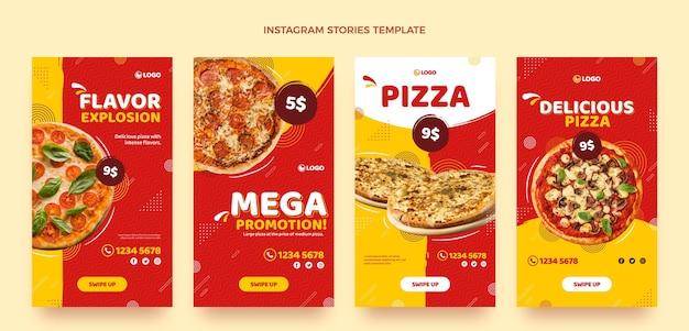 Histórias instagram de pizza em design plano