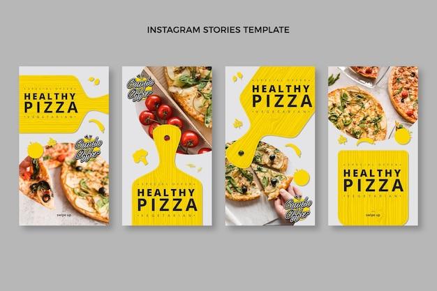 Histórias instagram de pizza saudável em design plano