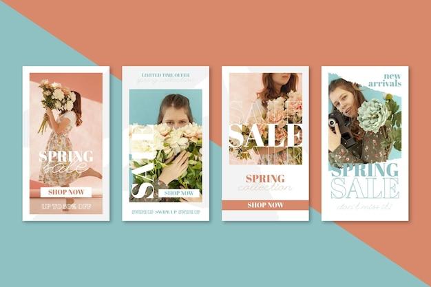 Histórias instagram de promoções de primavera