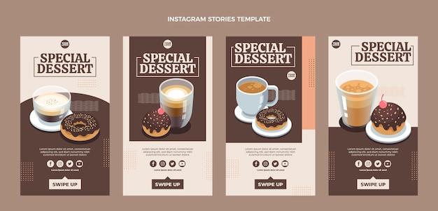 Histórias instagram de sobremesas especiais de design plano