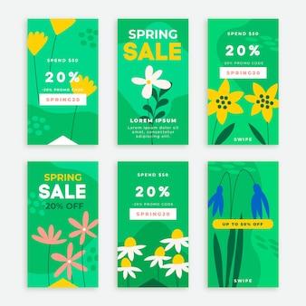 Histórias instagram de venda de primavera desenhadas à mão