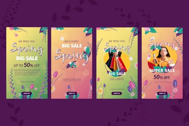 Histórias instagram de venda de primavera em design plano