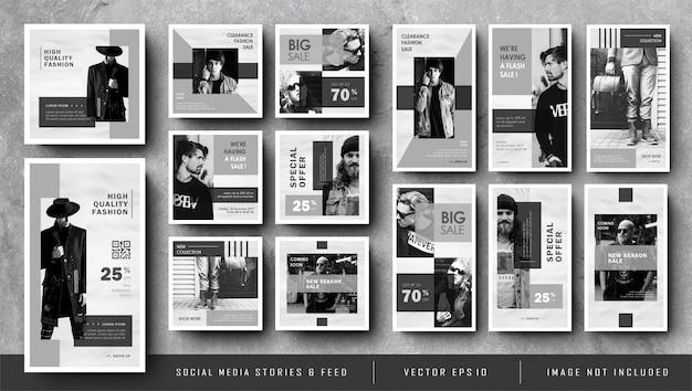Histórias minimalistas do instagram e banner em preto e branco no feed de mídia social