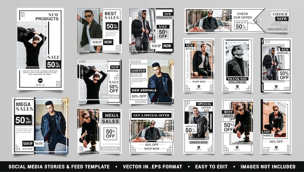 Histórias mínimas de mídia social e modelo de moda pós-feed