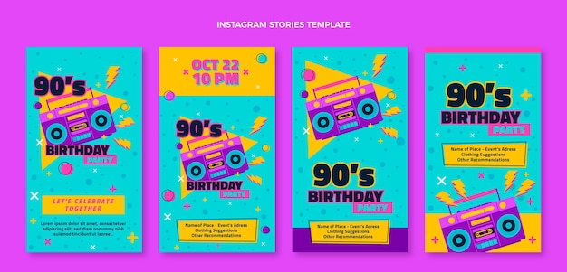 Histórias nostálgicas do instagram do aniversário dos anos 90 desenhadas à mão