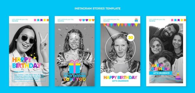 Histórias planas mínimas de aniversário no instagram