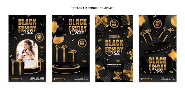Histórias realistas de black friday ig com detalhes dourados