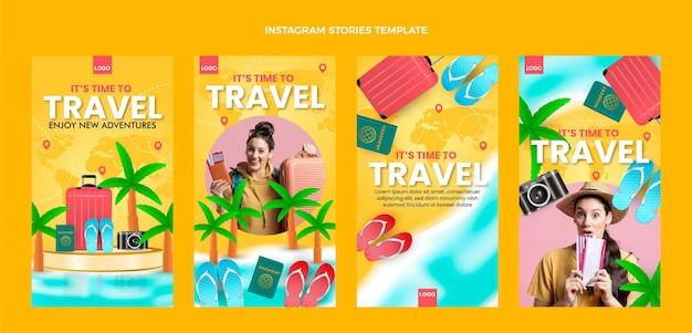 Histórias realistas do instagram de viagens