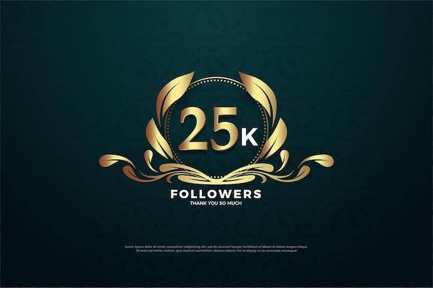 Histórico de 25 mil seguidores com números dourados