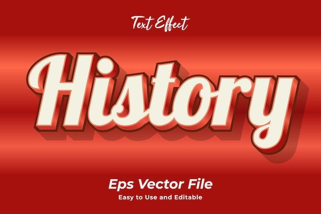 Histórico de efeitos de texto editável e fácil de usar vetor premium