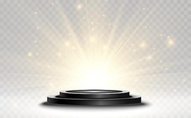 Histórico de vencedores com sinais de primeiro, segundo e terceiro lugar em um pedestal redondo vector vencedor