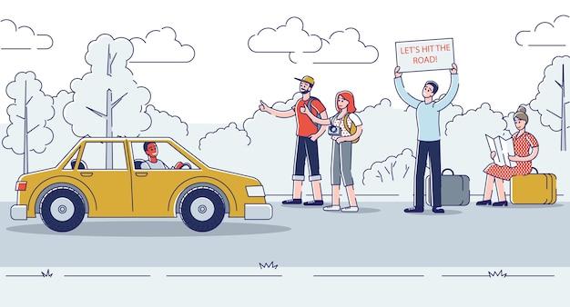 Hitchhikers na estrada manuseando e caminhando carros que passam.