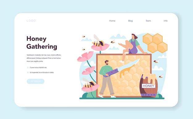Hiver ou banner da web de apicultor ou página de destino de fazendeiro profissional