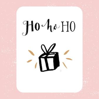 Ho ho ho cartão de natal caixa de presente e tipografia