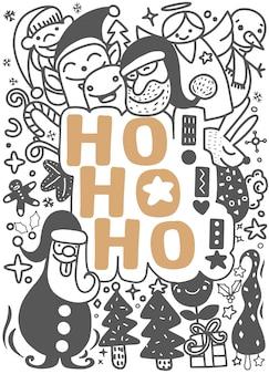 Ho! ho! ho! funny hand drawn style conjunto de doodle de natal