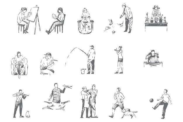 Hobbies de pessoas, ilustração de esboço de atividades