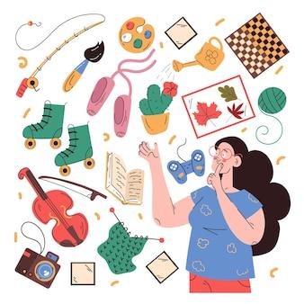Hobbies de pessoas planas desenhadas à mão