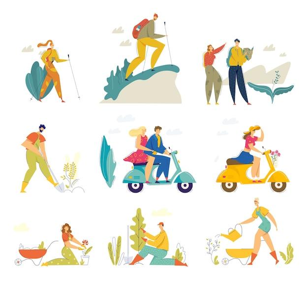 Hobbies de verão e conjunto de atividades. caminhadas felizes de personagens masculinos e femininos