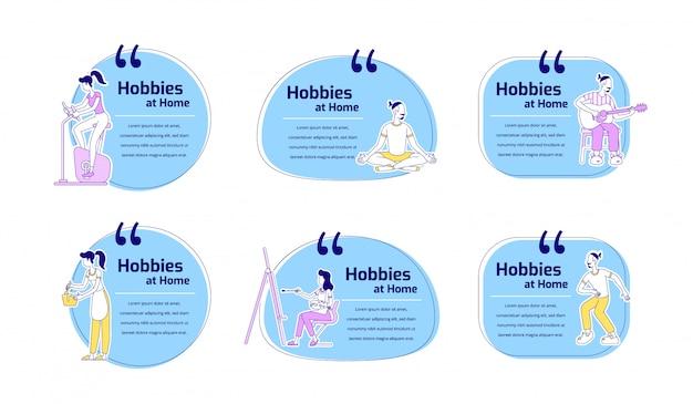 Hobbies em conjunto de citações de caracteres de cor plana em casa