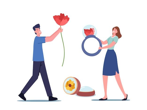 Hobby de criação de joias de resina epóxi artesanal. personagem masculino carrega uma flor enorme para fazer decoração de artesanato, mulher minúscula segurando um anel enorme, pessoas com equipamento para arte criativa. ilustração em vetor de desenho animado