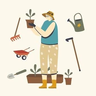 Hobby de jardinagem ou cultivo de mulher sênior. personagem feminina idosa, de cabelos grisalhos, usando luvas, cuidando das plantas caseiras em vasos