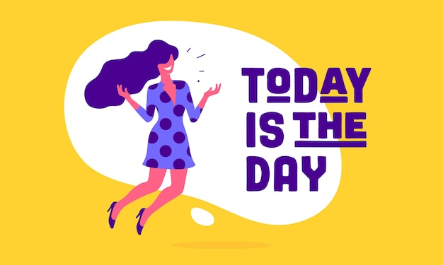 Hoje é o dia. mulher de escritório de negócios com sorriso, cabelo e vestido fala texto de balão de fala hoje é o dia