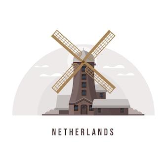 Holanda e marco da cidade de amsterdã