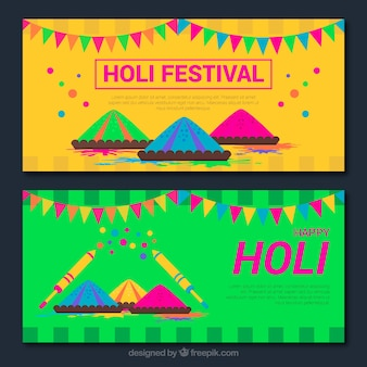 Holi feliz bandeiras coloridas