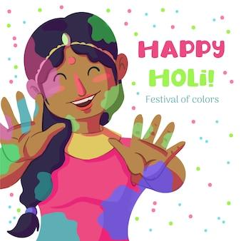 Holi festival aquarela mulher com tinta