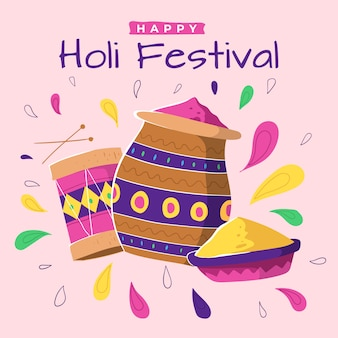 Holi festival mão desenhada com tinta