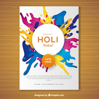 Holi festival party flyer em design realista