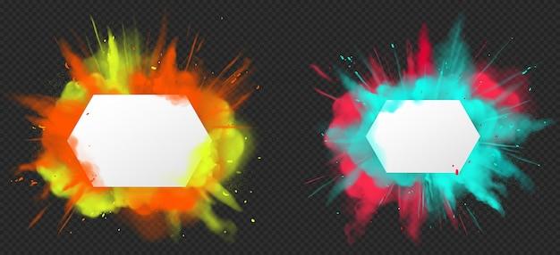 Holi tinta em pó explosão de cores realista