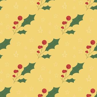 Holly berry deixa padrão sem emenda de natal